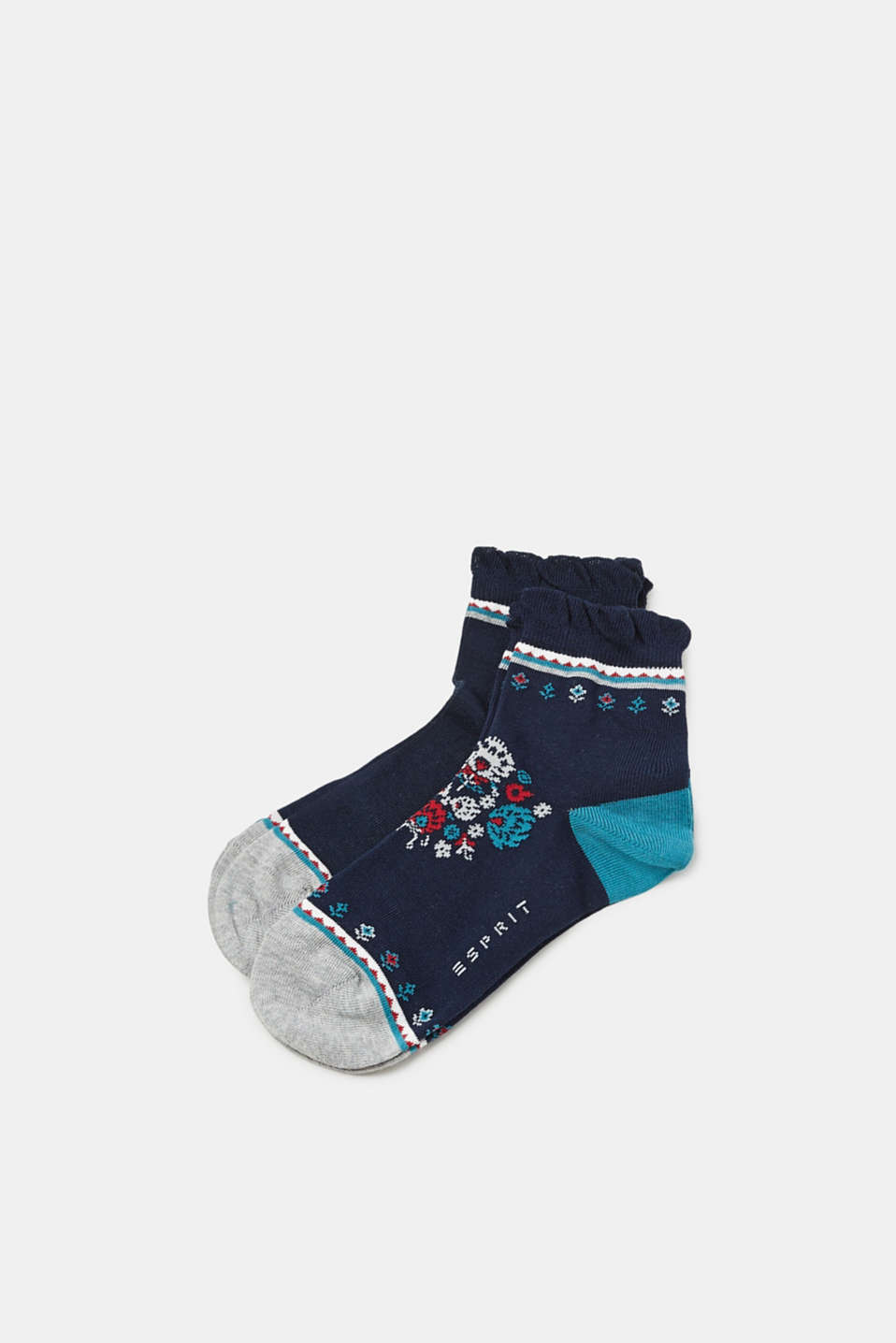 Double pack of socks with frills, MARINE, detail image number 0