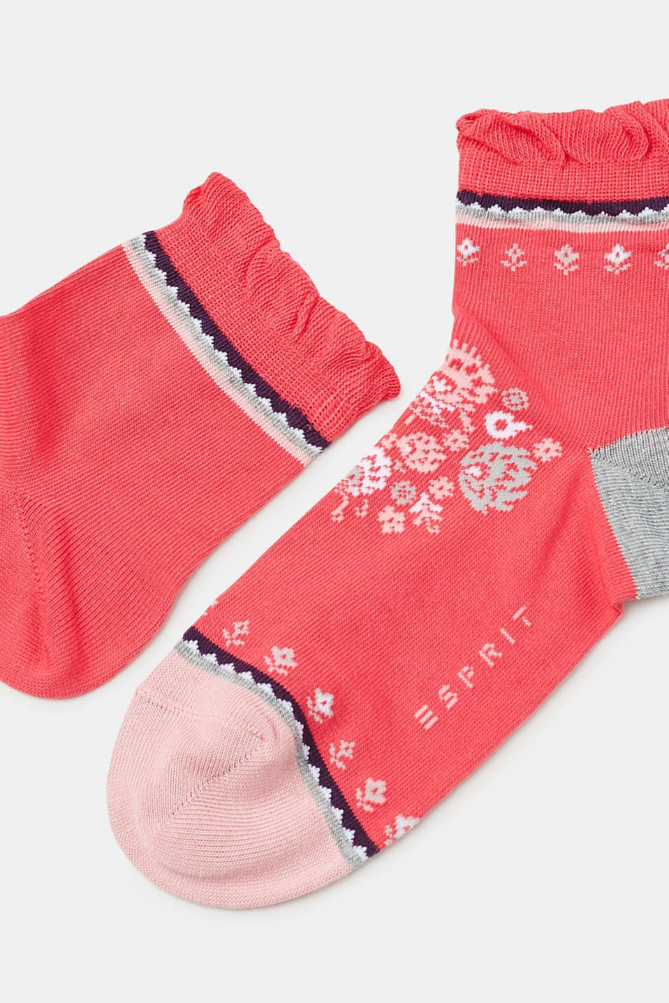 Double pack of socks with frills, CHERRY PINK, detail image number 1