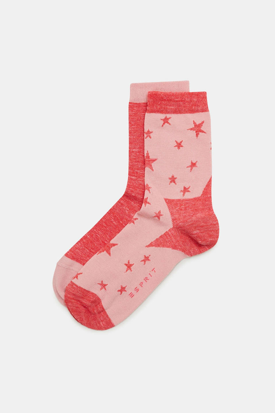 Esprit - In a pack of two: melange socks with a star intarsia pattern