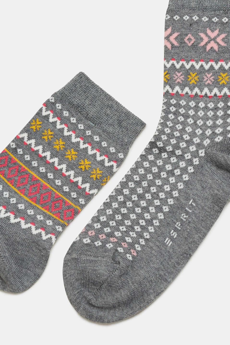 Double pack of socks with a jacquard- pattern, LIGHT GREY MELANGE, detail image number 1
