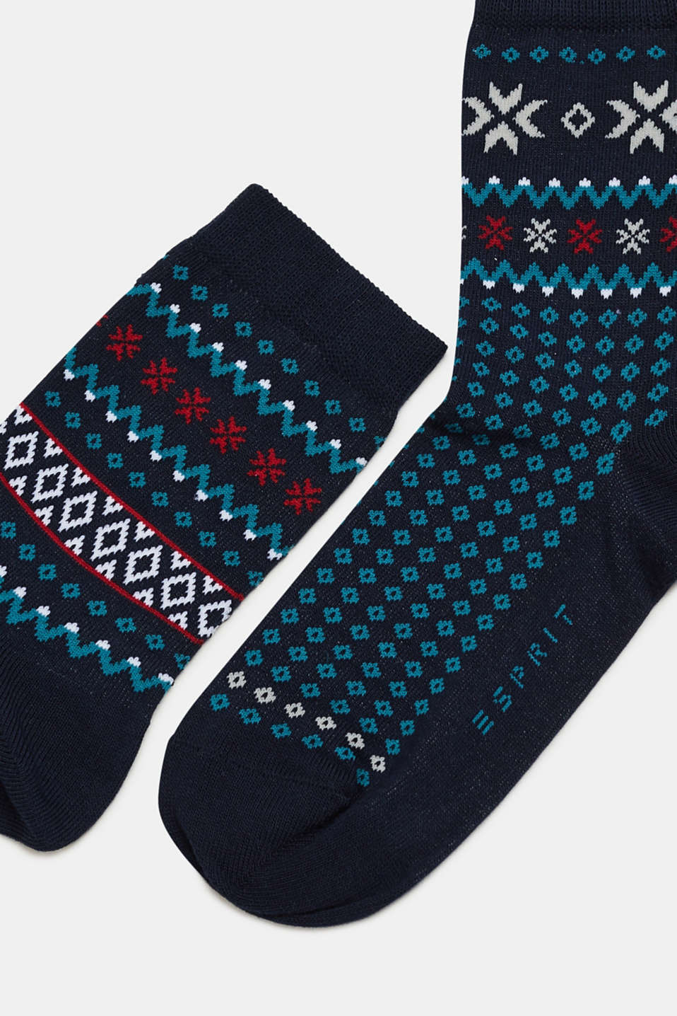 Double pack of socks with a jacquard- pattern, MARINE, detail image number 1