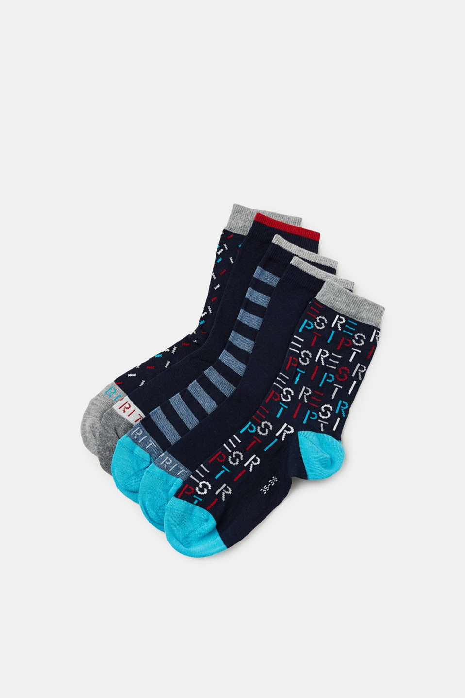 Esprit - 5-pack of socks with logos and stripes