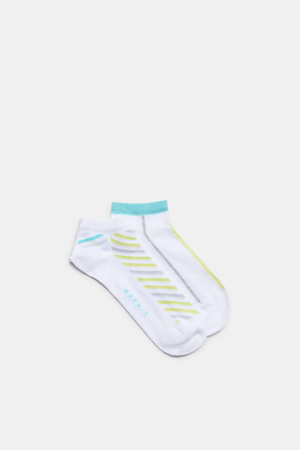 Double pack of blended cotton trainer socks, WHITE, detail image number 0
