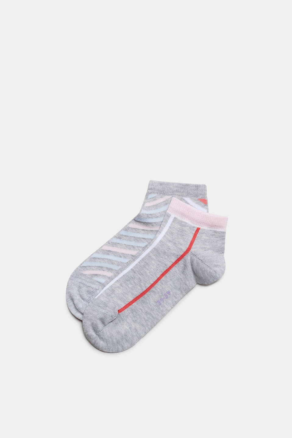 Double pack of blended cotton trainer socks, STORM GREY, detail image number 0