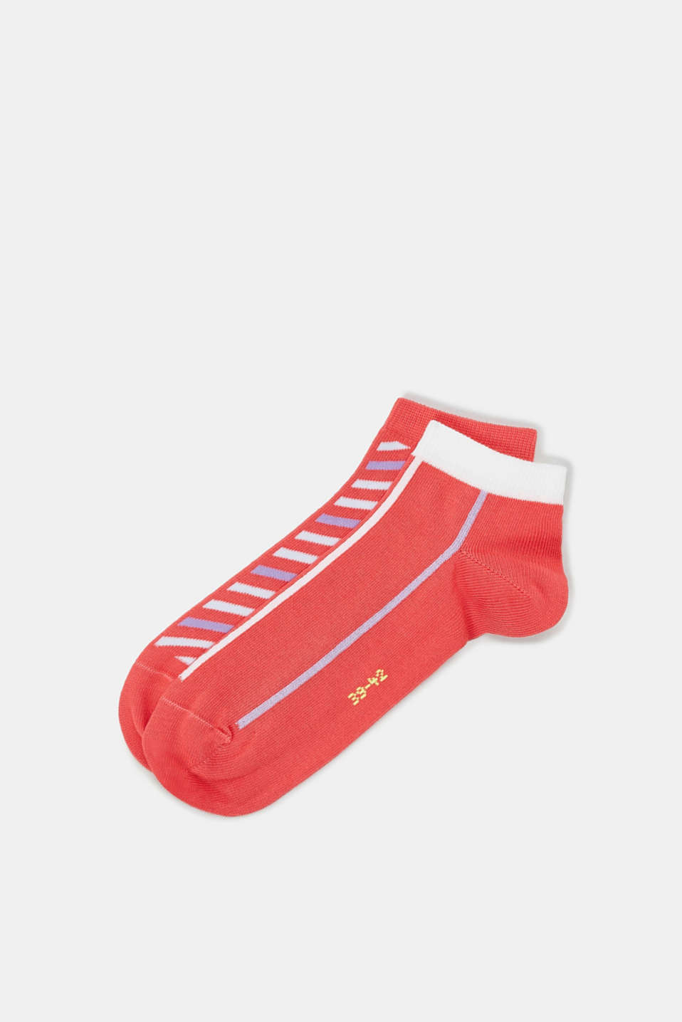 Double pack of blended cotton trainer socks, CORAL, detail image number 0