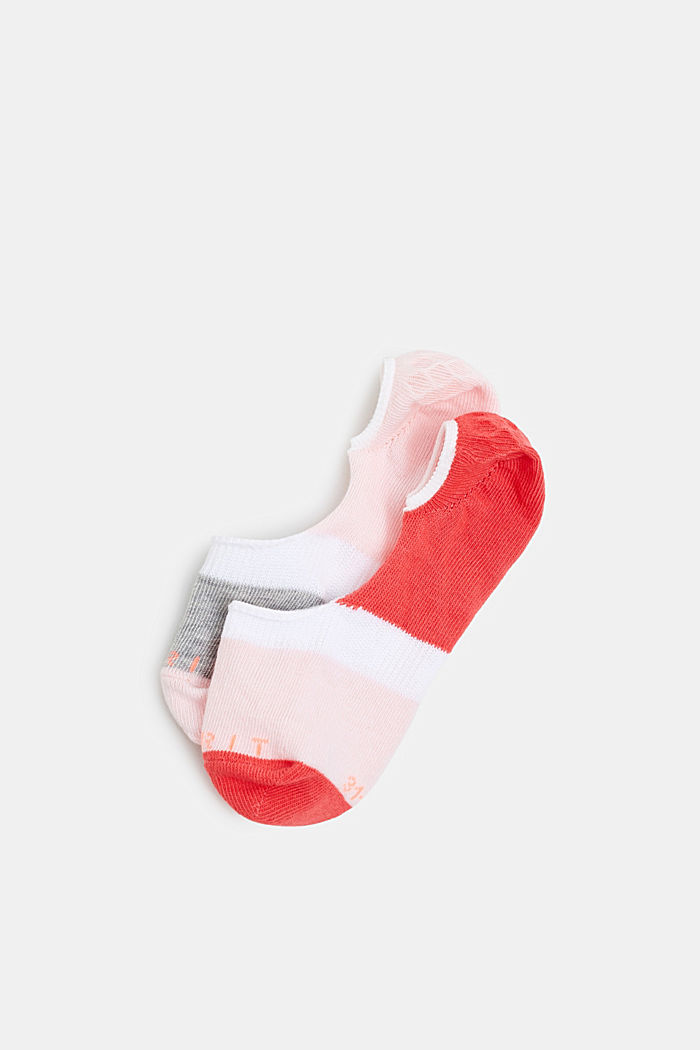 Double pack of non-slip trainer socks, RED/ROSE, detail image number 0