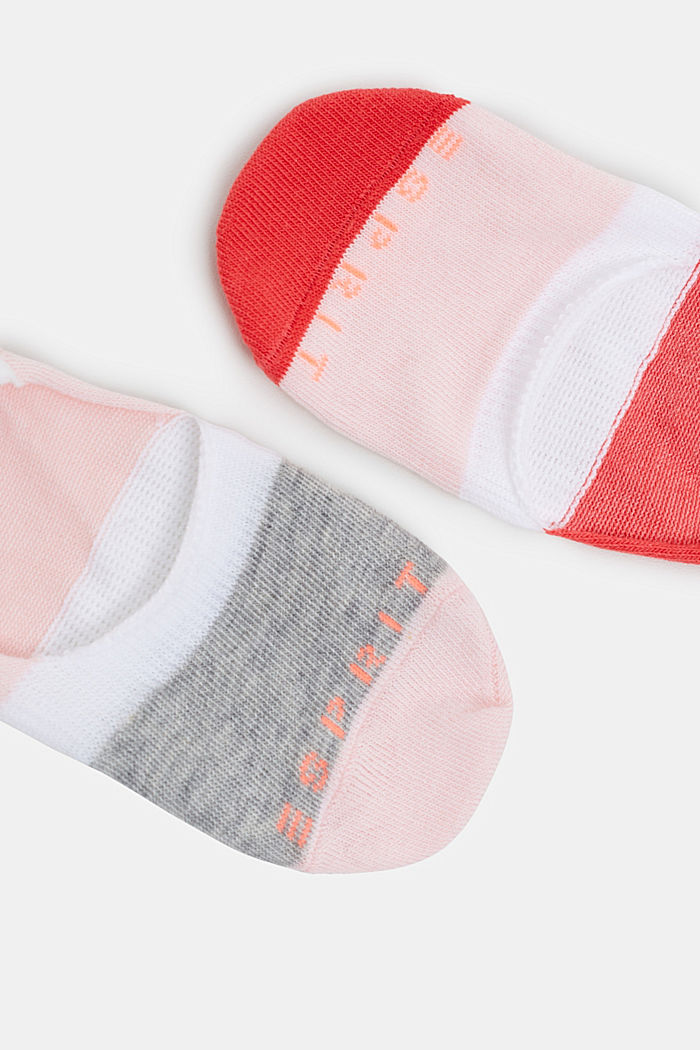 Double pack of non-slip trainer socks, RED/ROSE, detail image number 1
