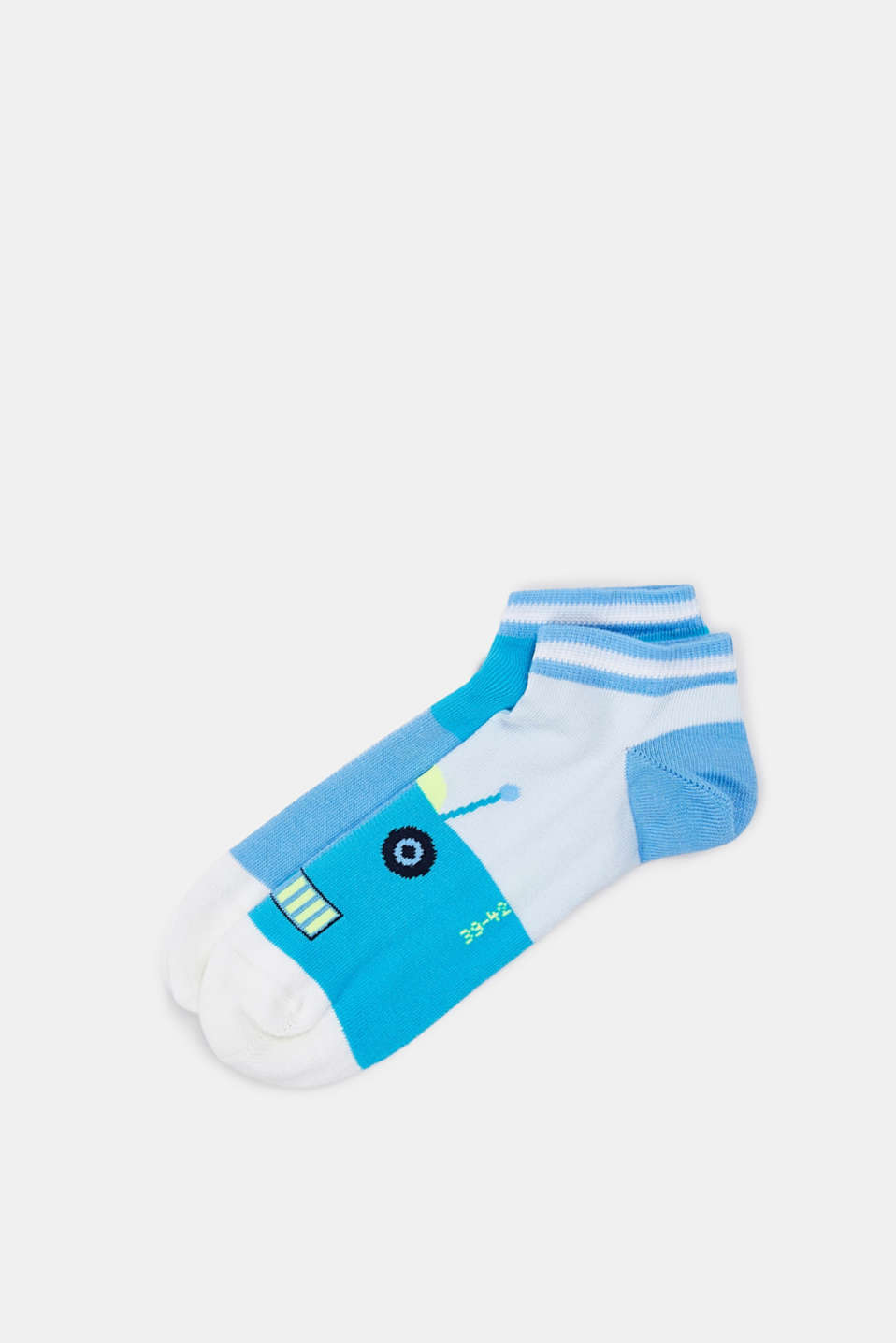 Double pack of socks with a robot motif, BLUEBELL, detail image number 0