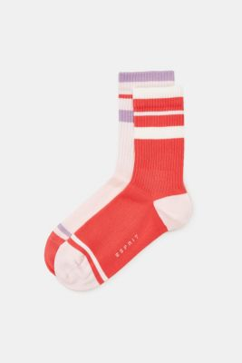 Double pack of socks with sporty stripes, RED/ROSE, detail