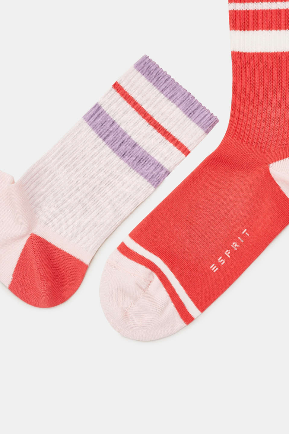 Double pack of socks with sporty stripes, RED/ROSE, detail image number 1