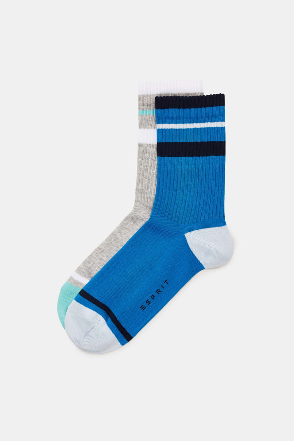 Double pack of socks with sporty stripes, BLUE/GREY, detail image number 0