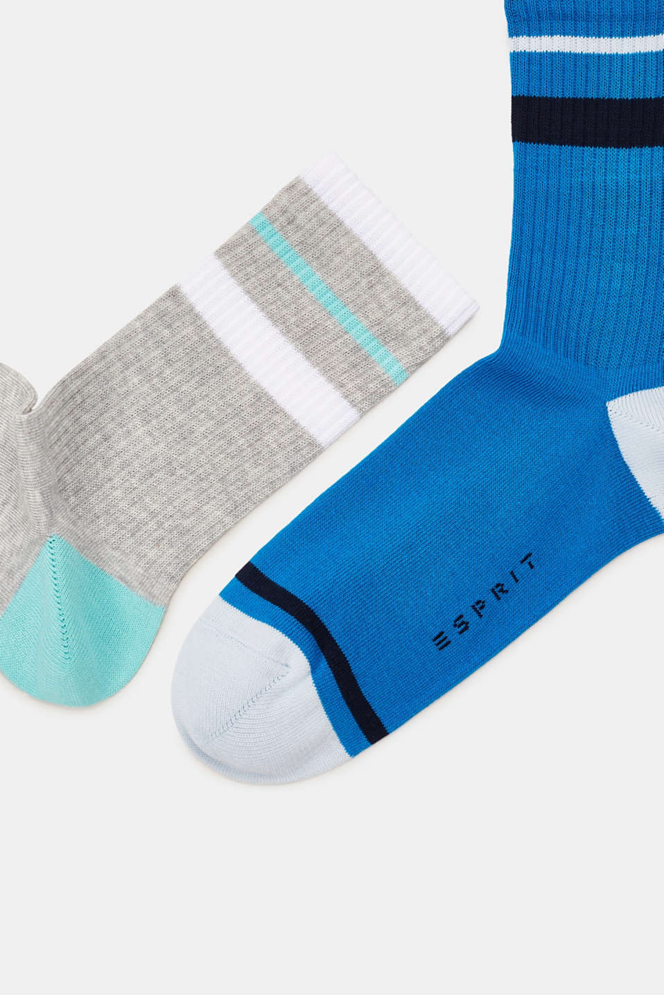 Double pack of socks with sporty stripes, BLUE/GREY, detail image number 1