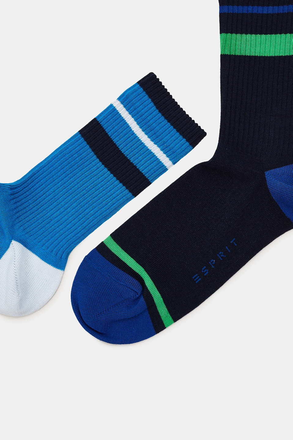 Double pack of socks with sporty stripes, NAVY/BLUE, detail image number 1