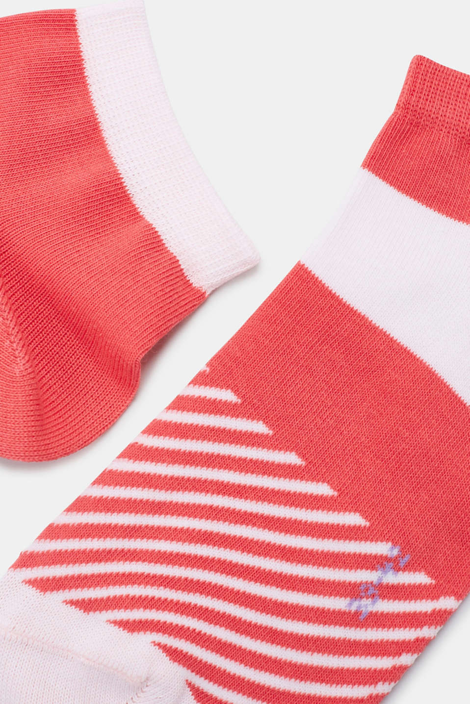 2-pack of trainer socks with block stripes, CORAL, detail image number 1
