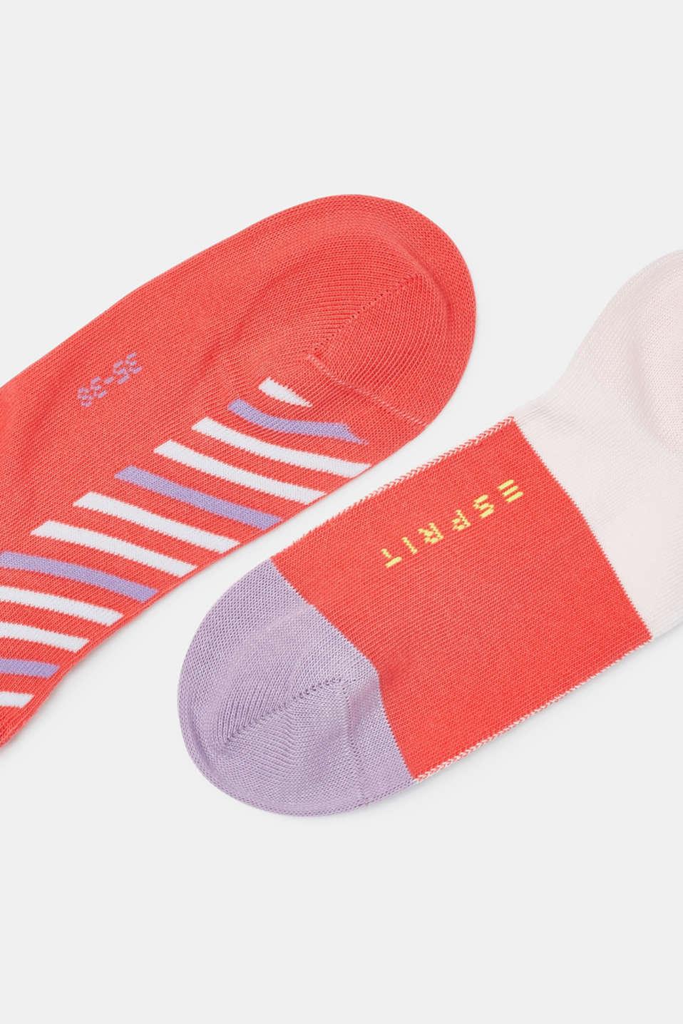 3-pack of blended cotton trainer socks, CORAL, detail image number 1