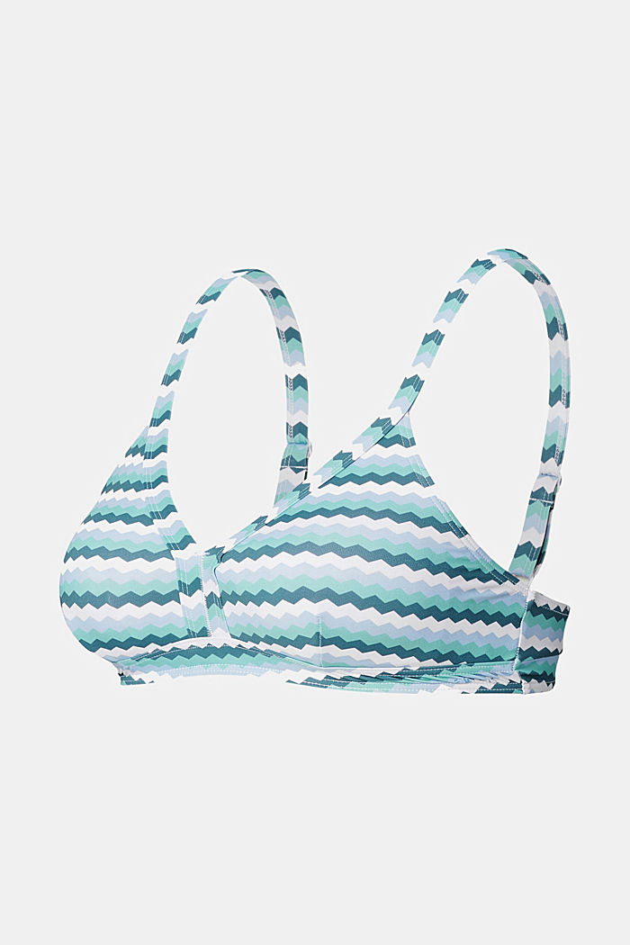 Padded bikini top with a zig-zag print, LIGHT BLUE, detail image number 0