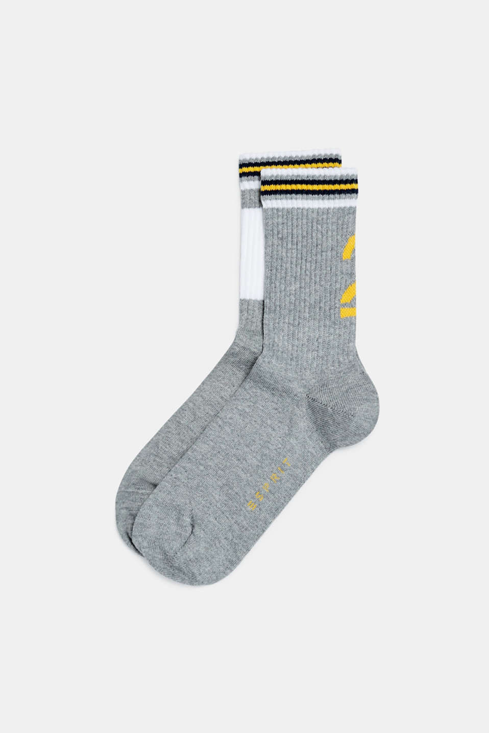 2-pack of socks with ribbed cuffs, LIGHT GREY, detail image number 0