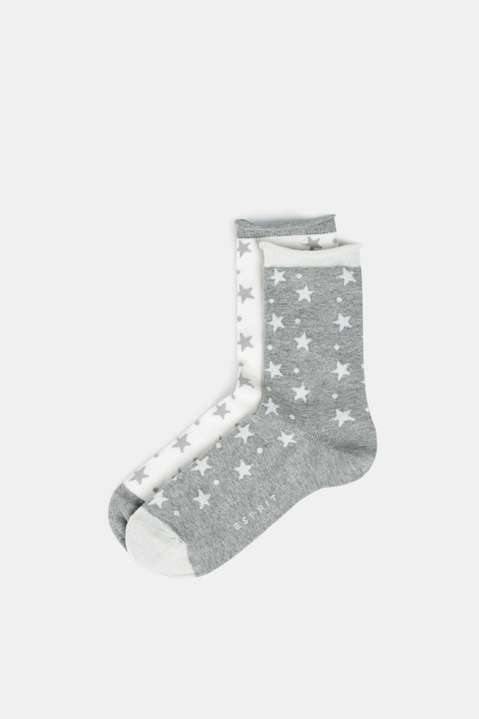 2-pack of socks with glittering stars, LIGHT GREY, detail image number 0
