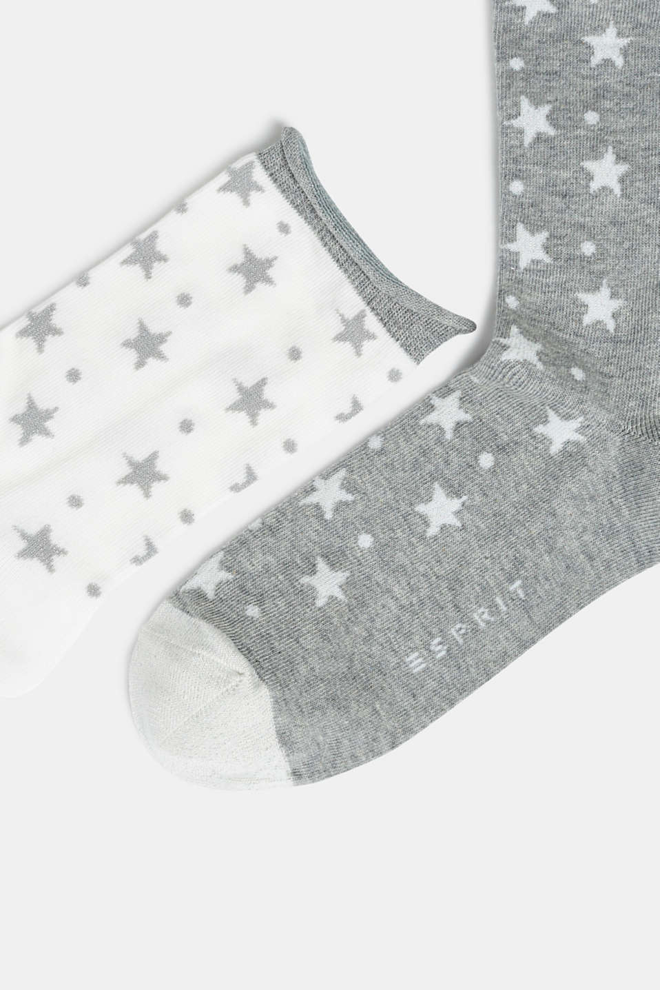 2-pack of socks with glittering stars, LIGHT GREY, detail image number 1