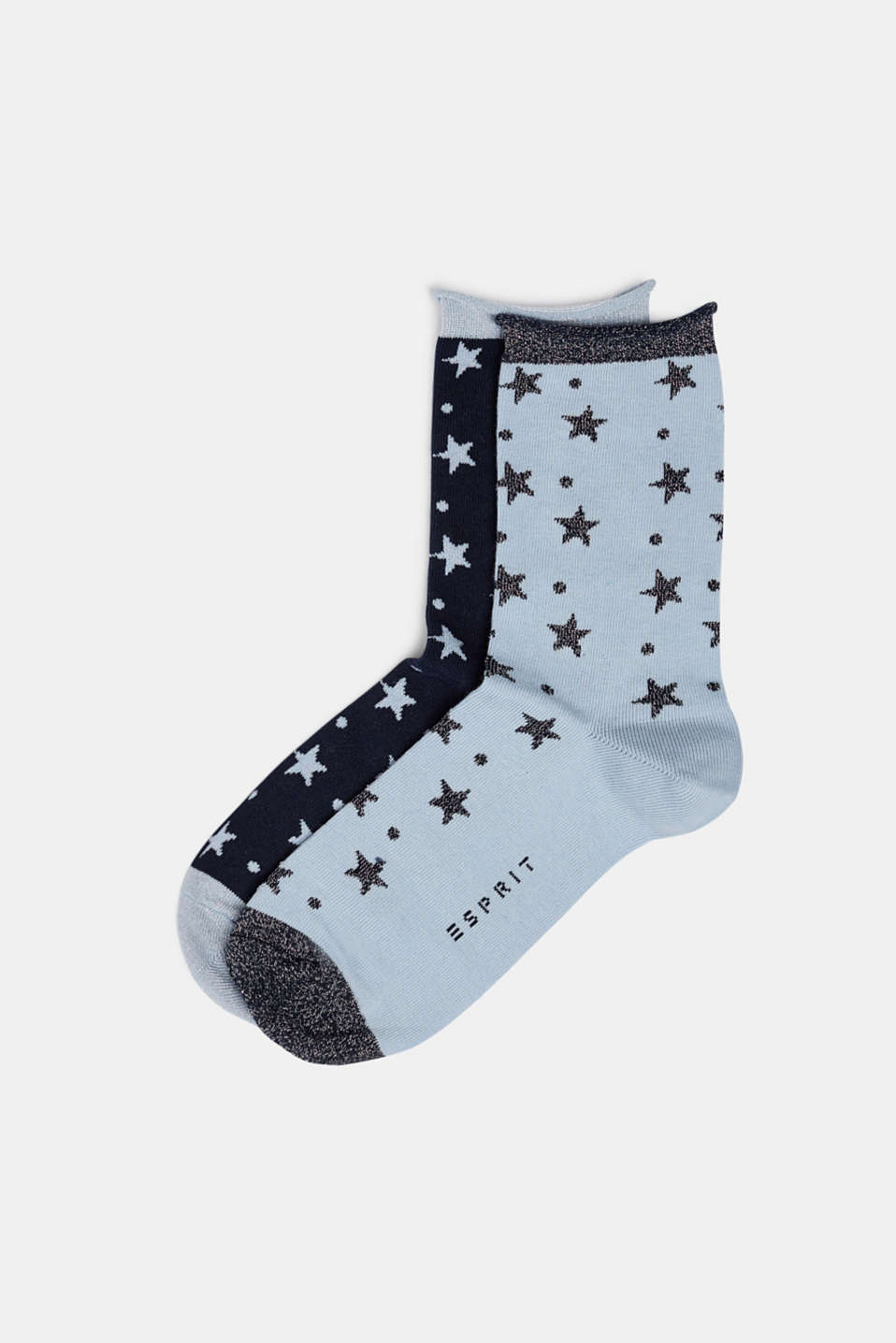 2-pack of socks with glittering stars, MARINE, detail image number 0