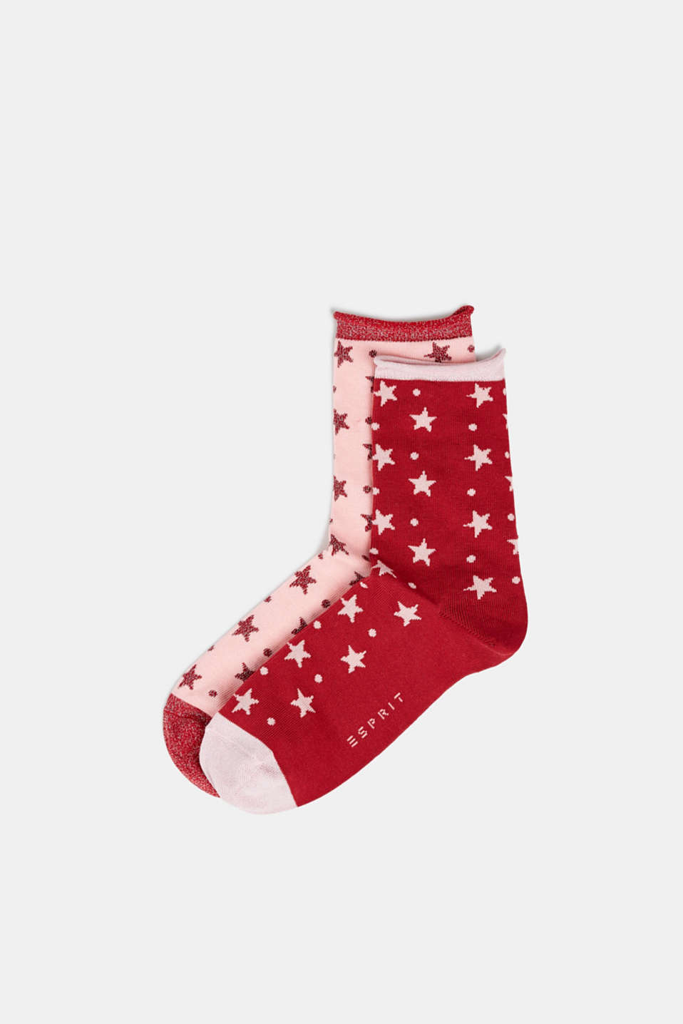 2-pack of socks with glittering stars, CHERRY RED, detail image number 0