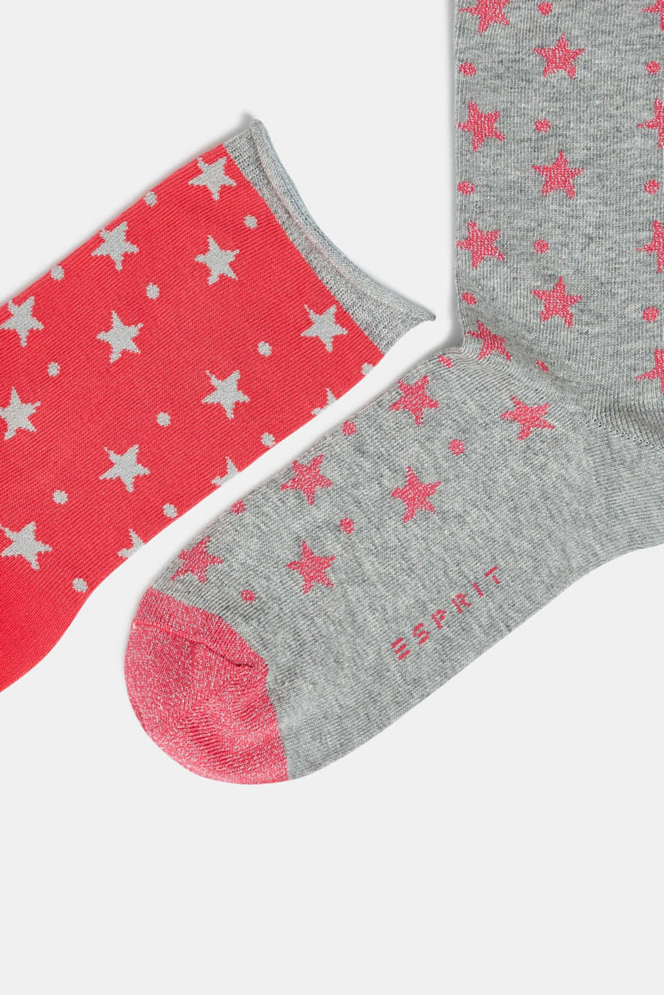 2-pack of socks with glittering stars, PINK, detail image number 1