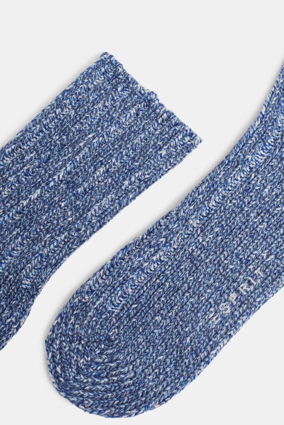 With wool and cashmere: knitted socks, LIGHT DENIM, detail image number 1