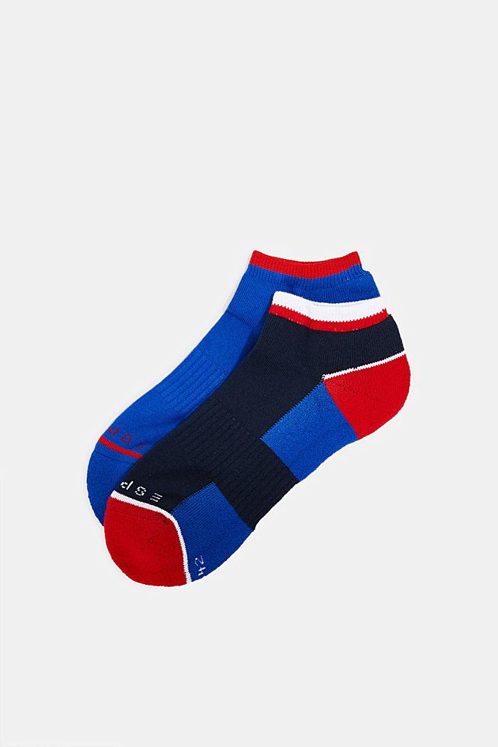 2er Pack Sneaker-Socken mit Color-Block, NAVY/BLUE, detail image number 0