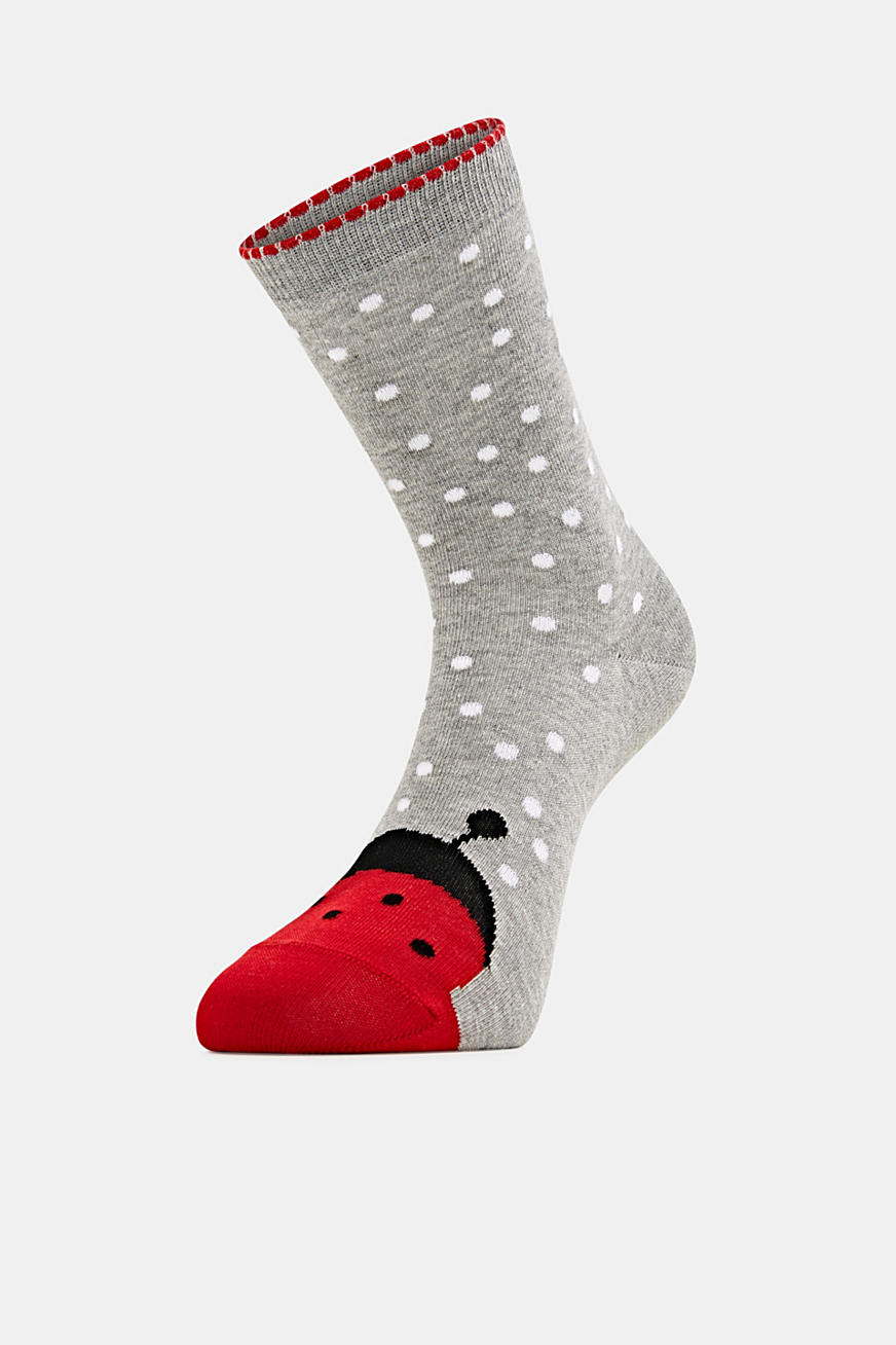 Double pack of socks, plain and with a ladybird motif