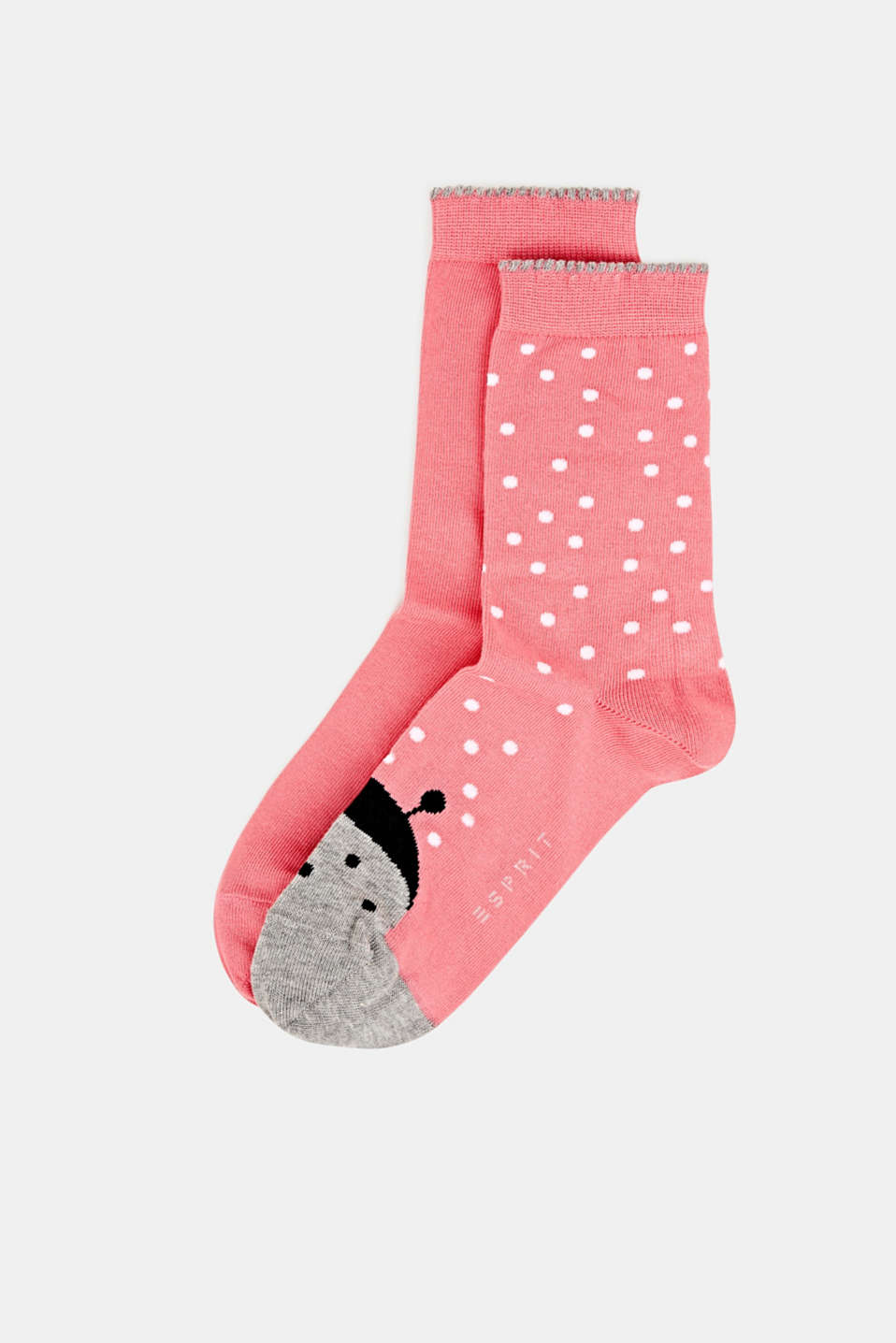 Double pack of socks, plain and with a ladybird motif, FUCHSIA, detail image number 0