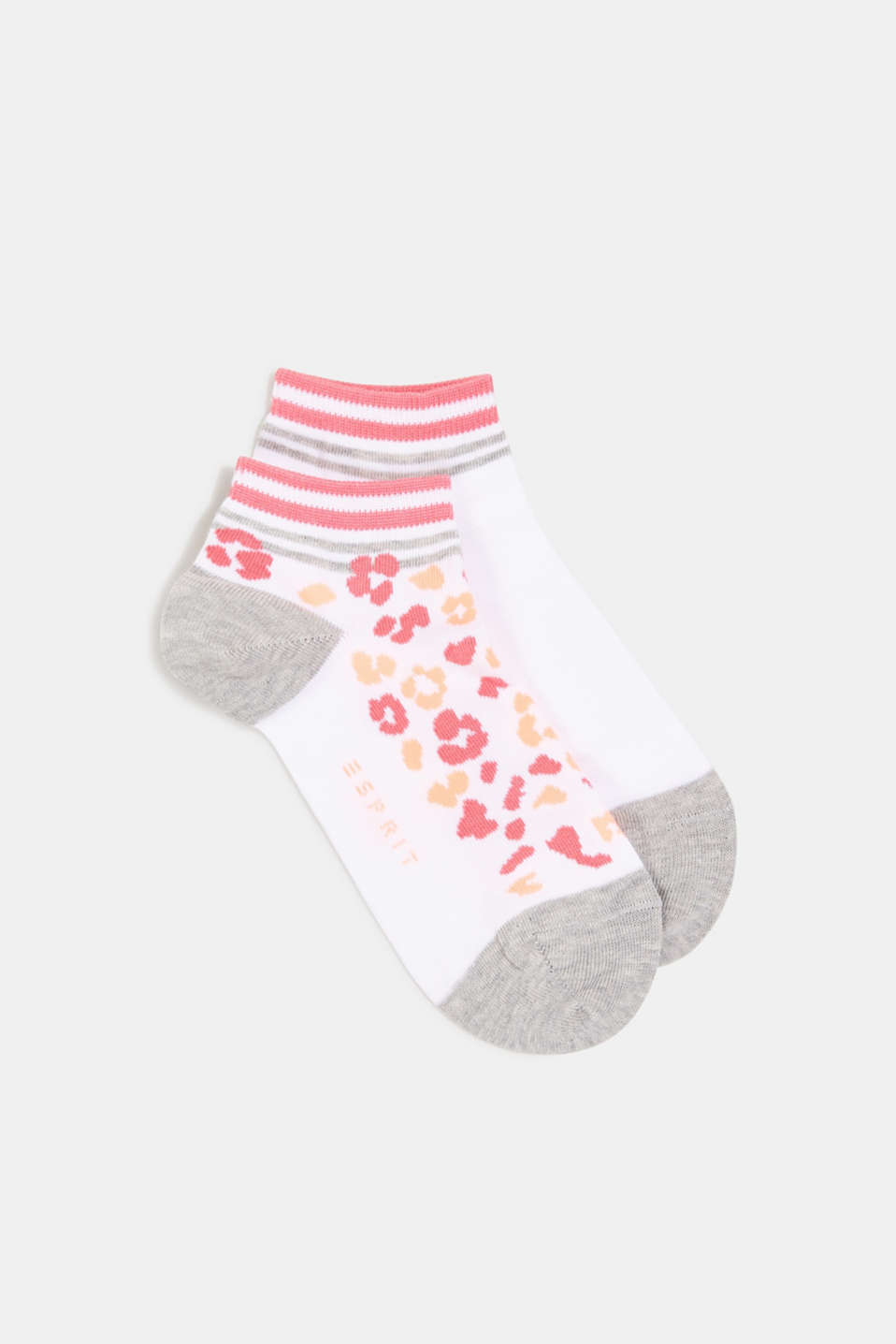 Esprit - Double pack of trainer socks with a leopard pattern