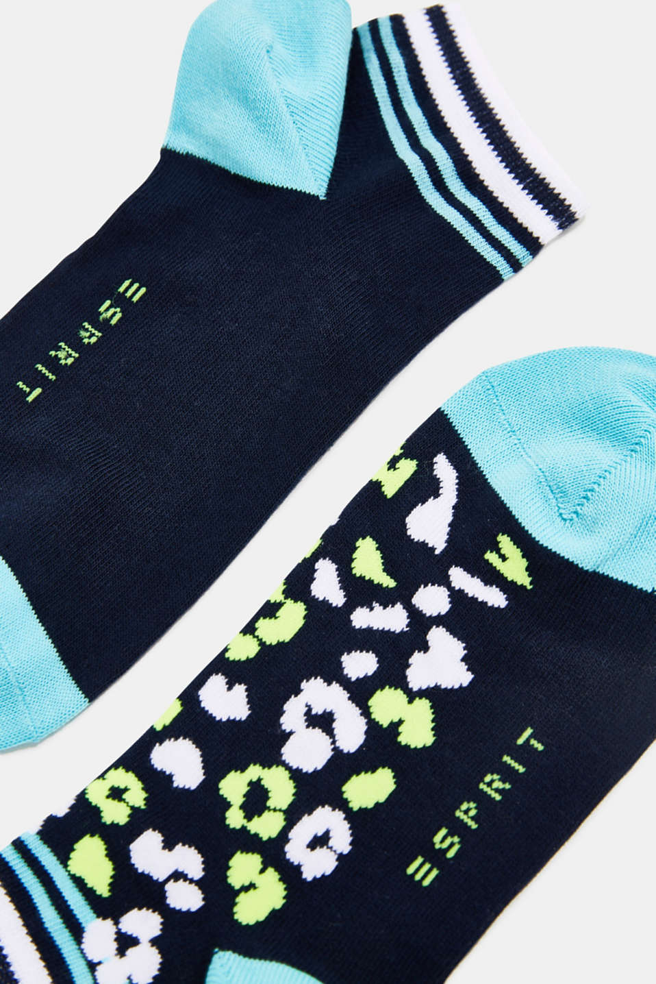 Double pack of trainer socks with a leopard pattern, MARINE, detail image number 1