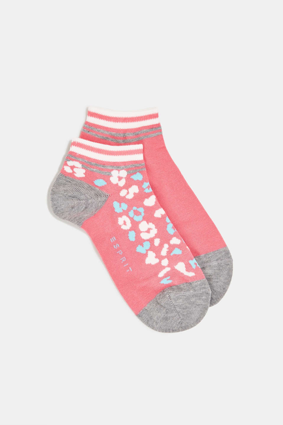 Double pack of trainer socks with a leopard pattern, FUCHSIA, detail image number 0