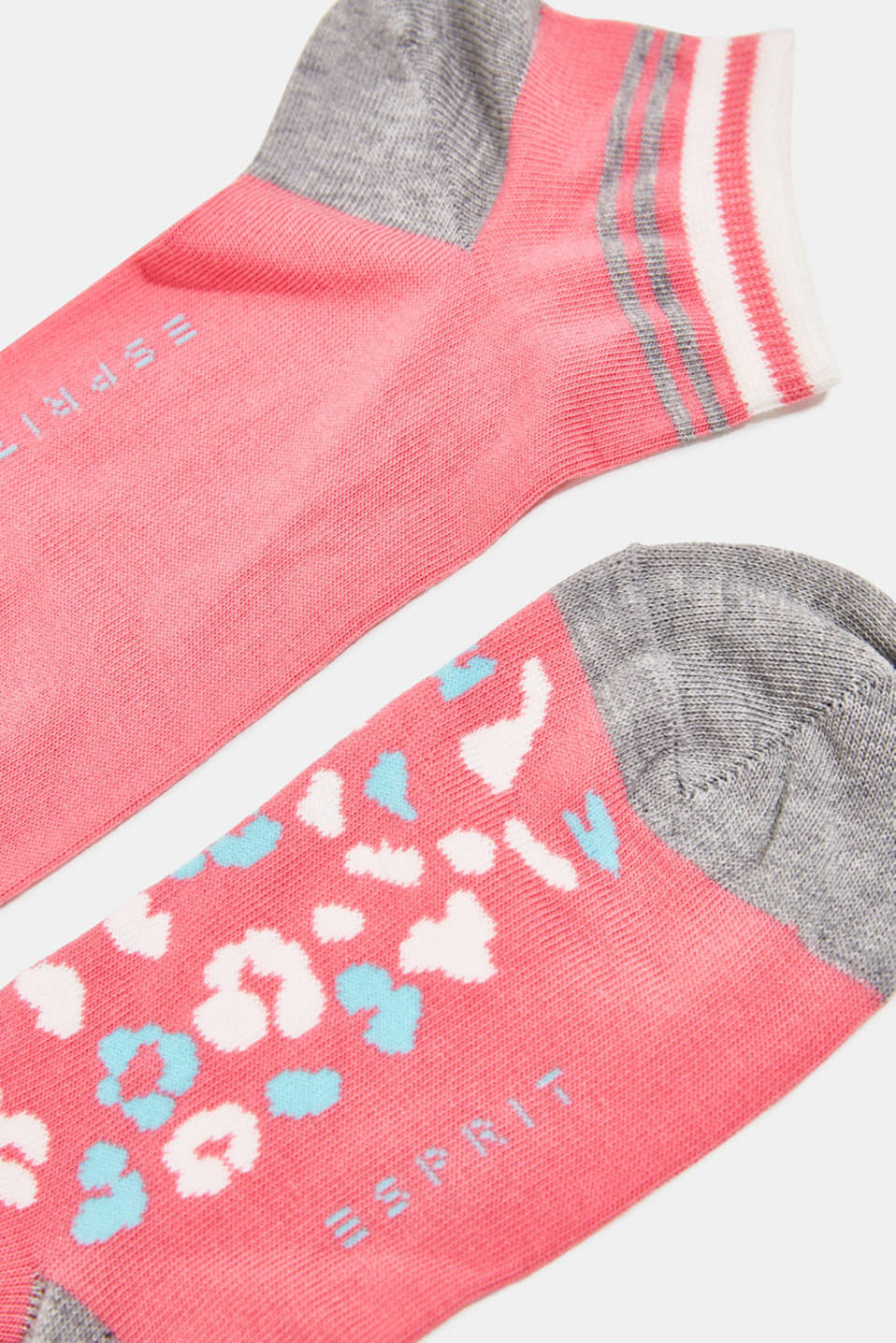 Double pack of trainer socks with a leopard pattern, FUCHSIA, detail image number 1