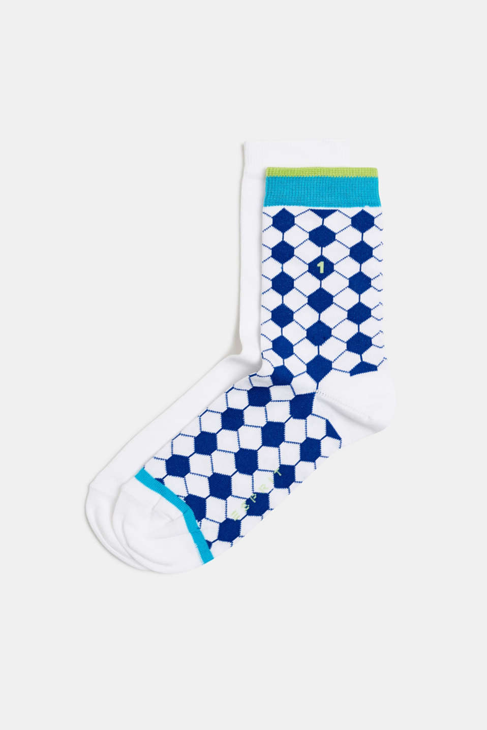 Double pack of socks with a football pattern, WHITE, detail image number 0