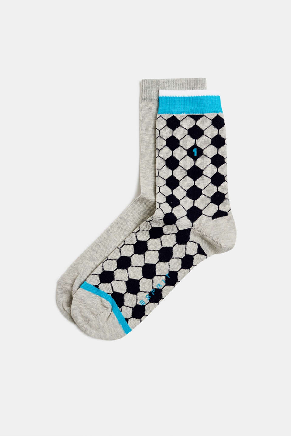 Double pack of socks with a football pattern, STORM GREY, detail image number 0
