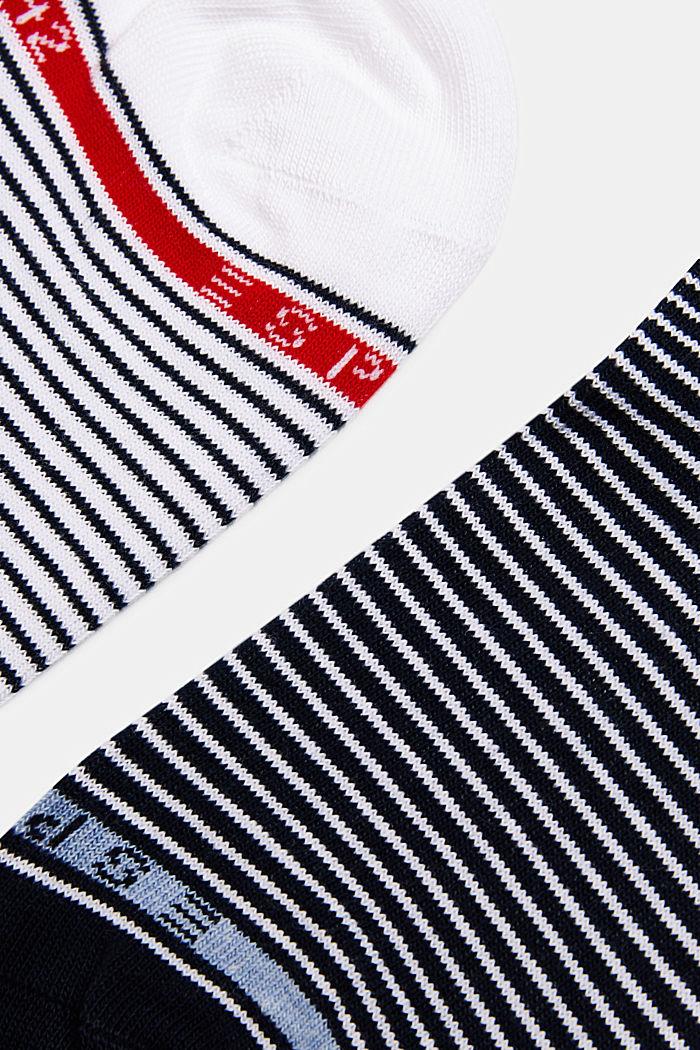 Strumpor i 2-pack med ränder, WHITE/BLACK, detail image number 1