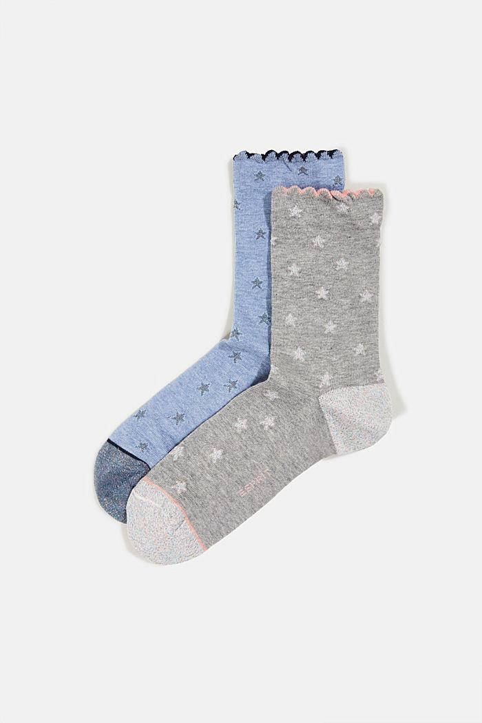 2er-Pack Socken mit Glitter-Details, BLUE/GREY, detail image number 0