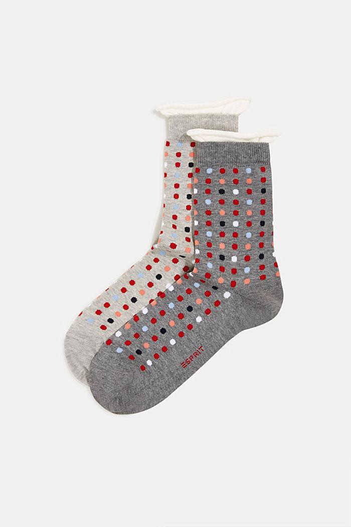2 paar sokken met stippenmotief, LIGHT GREY/DARK GREY, detail image number 0