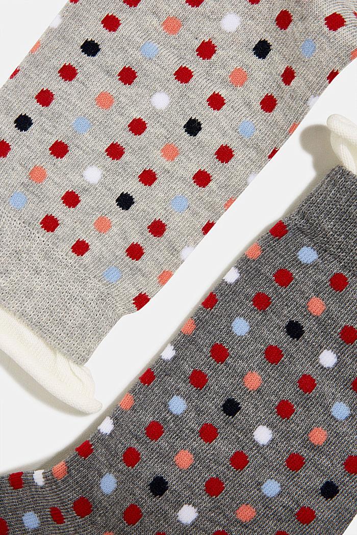 2 paar sokken met stippenmotief, LIGHT GREY/DARK GREY, detail image number 1