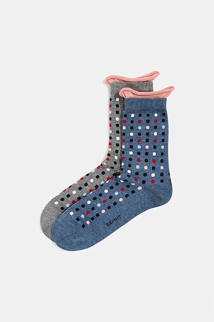 2er-Pack Socken mit Punkte-Muster, GREY/BLUE, detail image number 0