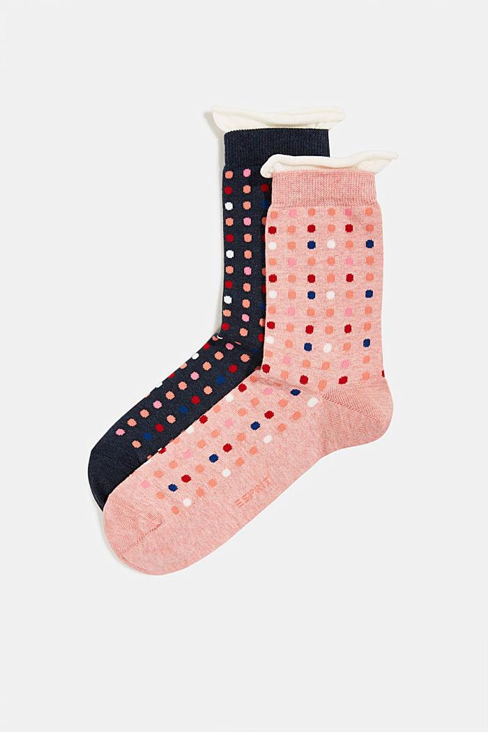 Pack de dos pares de calcetines con motivo de lunares, NAVY/PINK, detail image number 0
