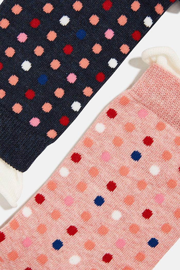 Pack de dos pares de calcetines con motivo de lunares, NAVY/PINK, detail image number 1