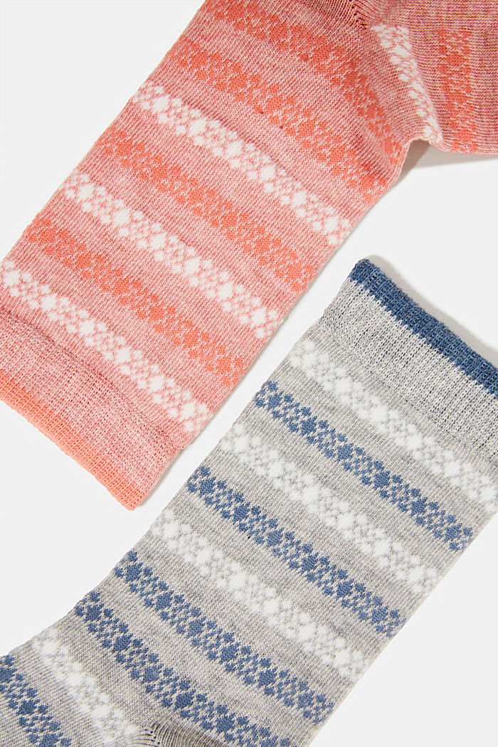Double pack of socks with a striped pattern