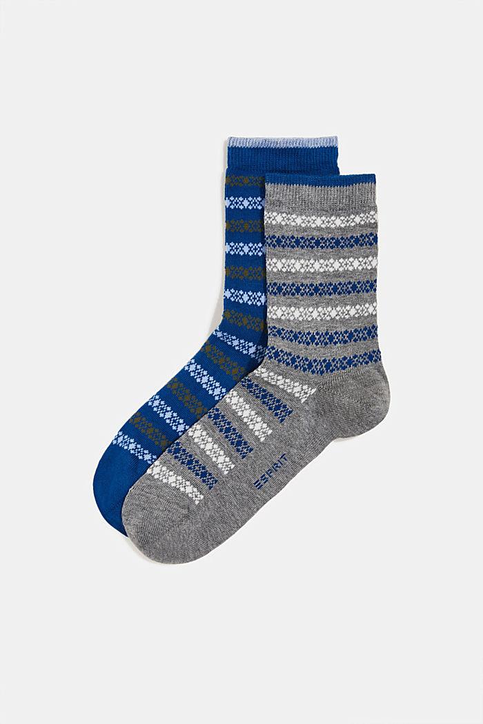 Pakke m. 2 par sokker m. striber, BLUE/GREY, detail image number 0