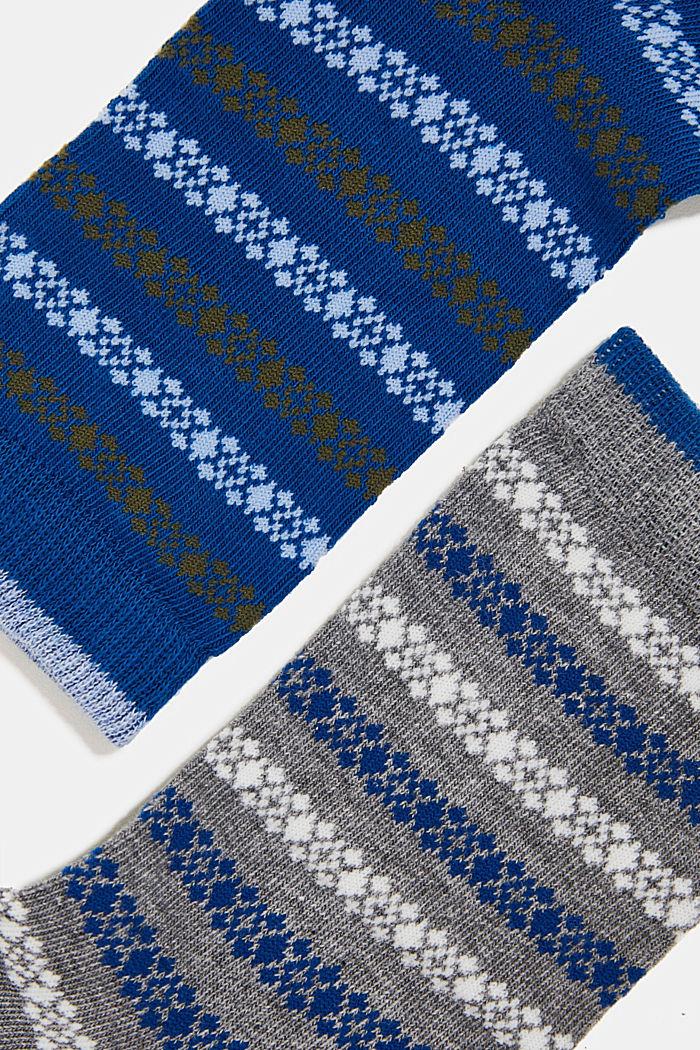 Pakke m. 2 par sokker m. striber, BLUE/GREY, detail image number 1