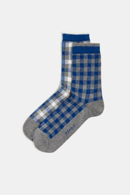 Double pack of socks with a check pattern, LIGHT GREYMEL, detail