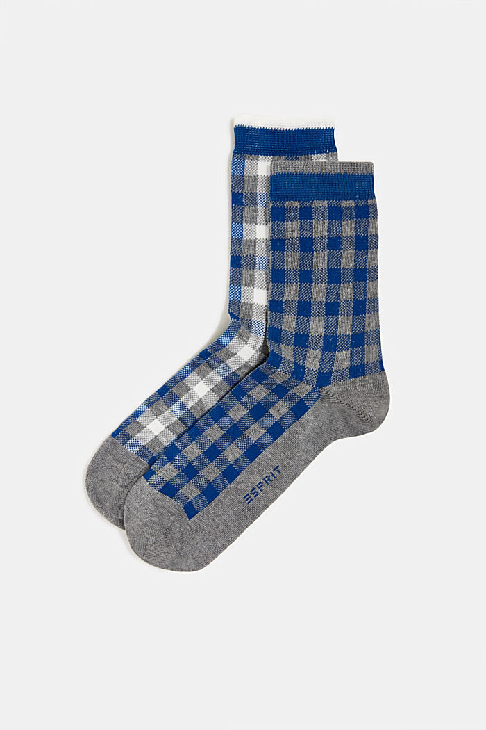 Double pack of socks with a check pattern