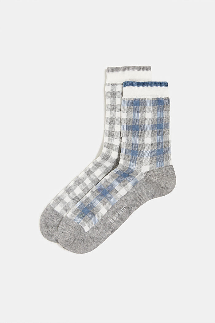 2er-Pack Socken mit Karo-Muster, LIGHT GREY, detail image number 0