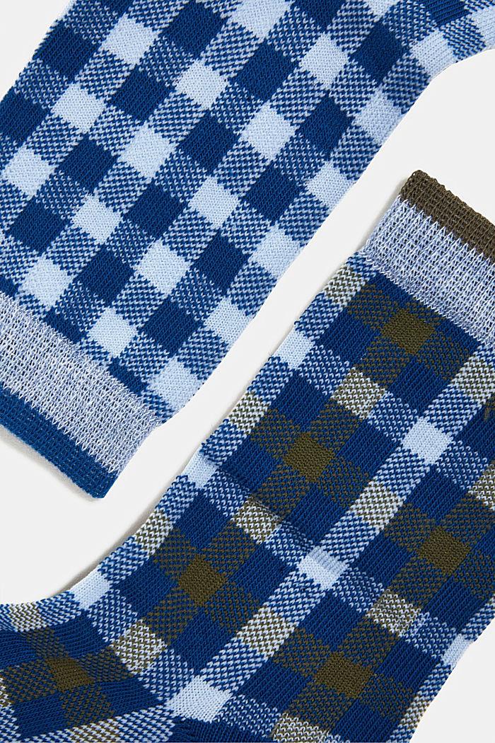2er-Pack Socken mit Karo-Muster, PETROL BLUE, detail image number 1